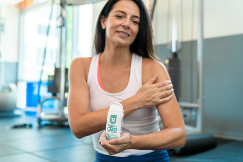CBD pain cream for shoulder pain at the gym
